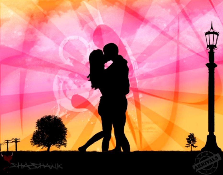Intimate Couple Vector Valentines Day Wallpaper