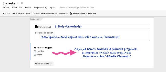 Crear formulario  google estructura