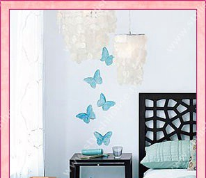 Blue butterflies wall stickers for bedroom walls