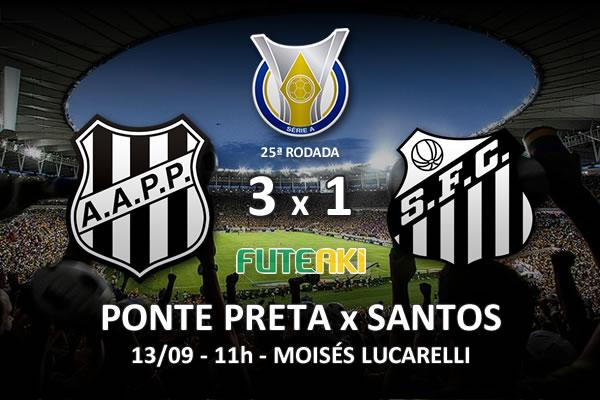 Veja o resumo da partida com os gols e os melhores momentos de Ponte Preta 3x1 Santos pela 25ª rodada do Brasileirão 2015.