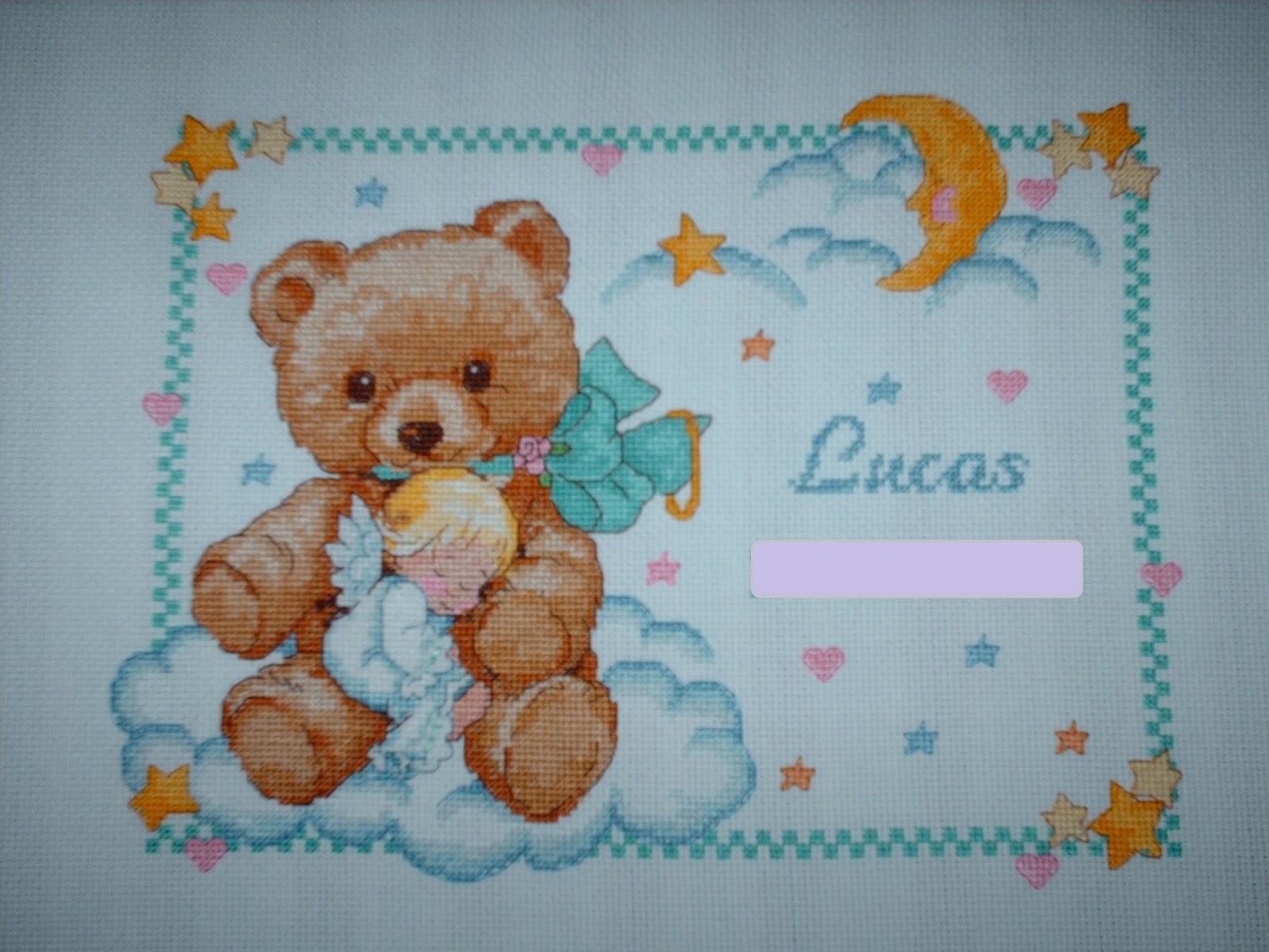 Ponto Cruz Divertido Quadro de nascimento do Lucas  ursinho com anjo