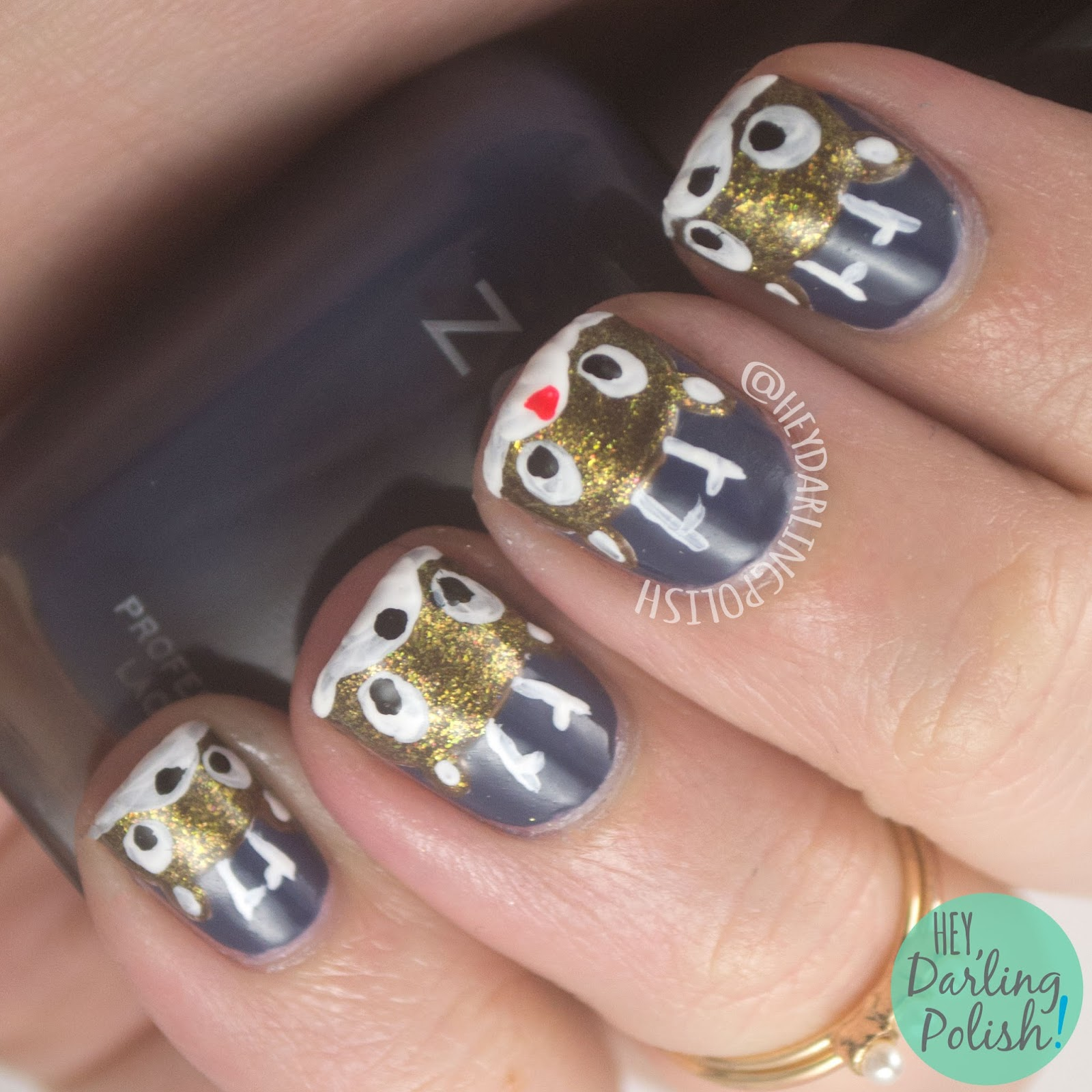 nails, nail art, nail polish, rudolph, reindeer, holiday nail art, christmas, hey darling polish, nail linkup, nailllinkup