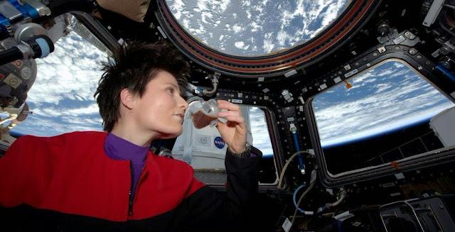 Italian astronaut Samantha Cristoforetti sips first espresso in space. Image credit: Samantha Cristoforetti/Twitter