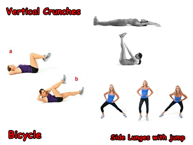 Bicycle – 12 reps Vertical leg crunch – 12 Reps Side Lunges with ...