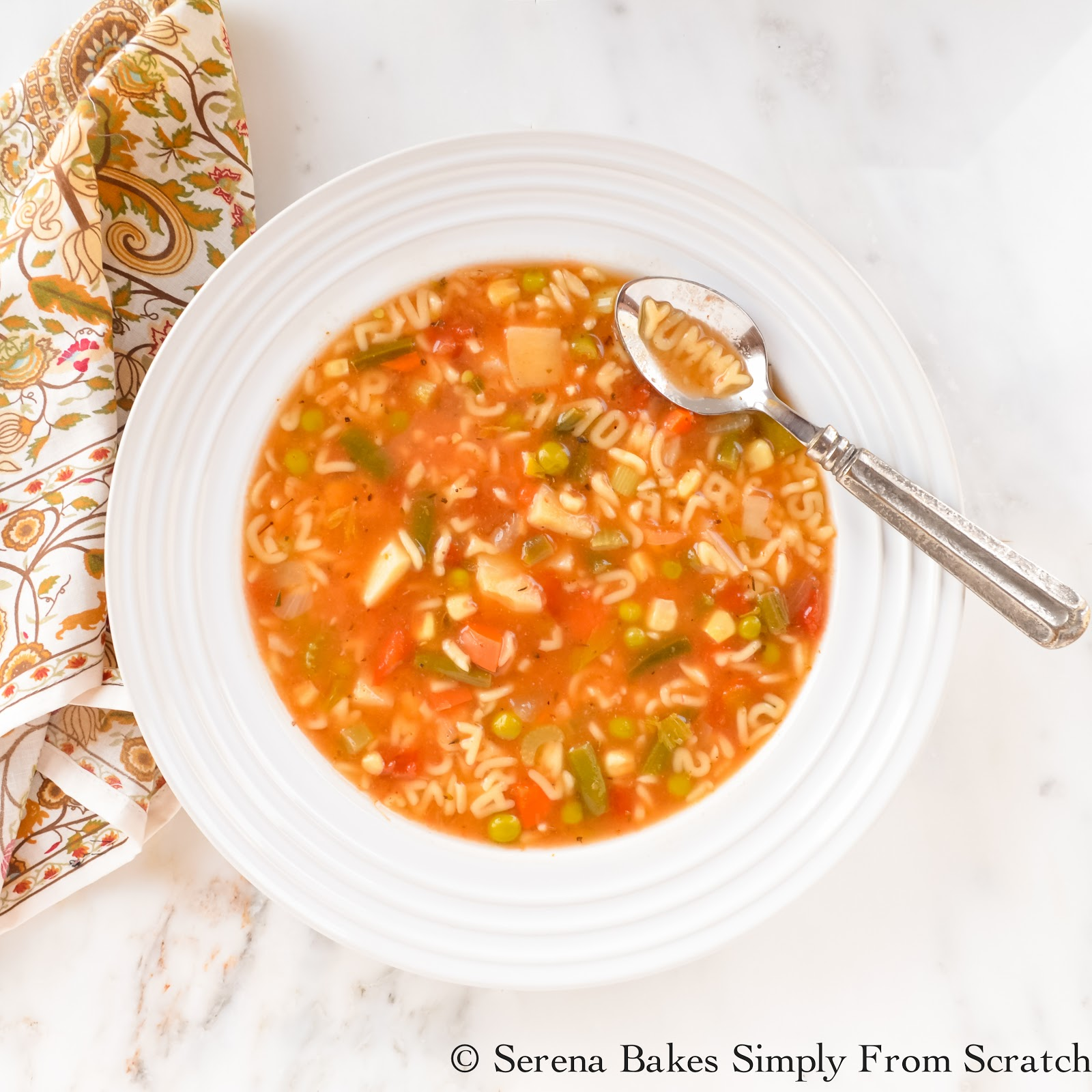 Alphabet Vegetable Soup | Serena Bakes Simply From Scratch