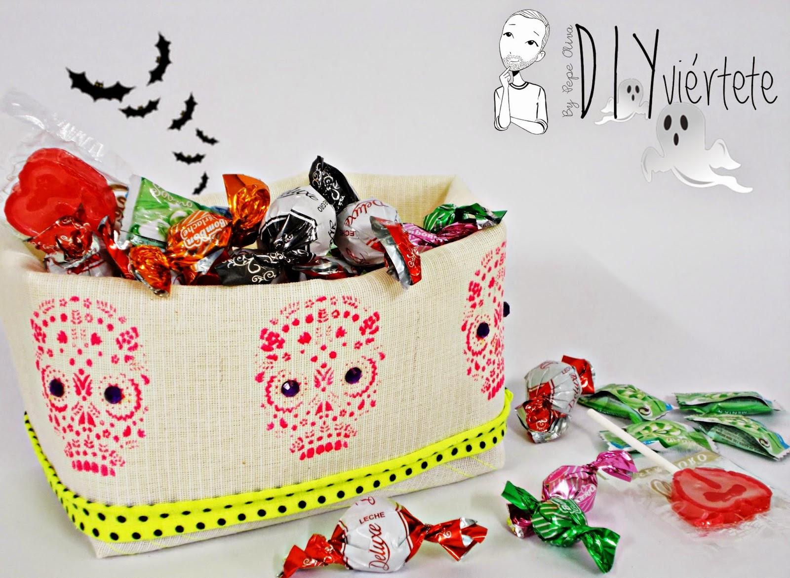 DIY-cesto-costura-tela-calavera-día de muertos-México-flúor-trapillo-halloween-caramelos-1