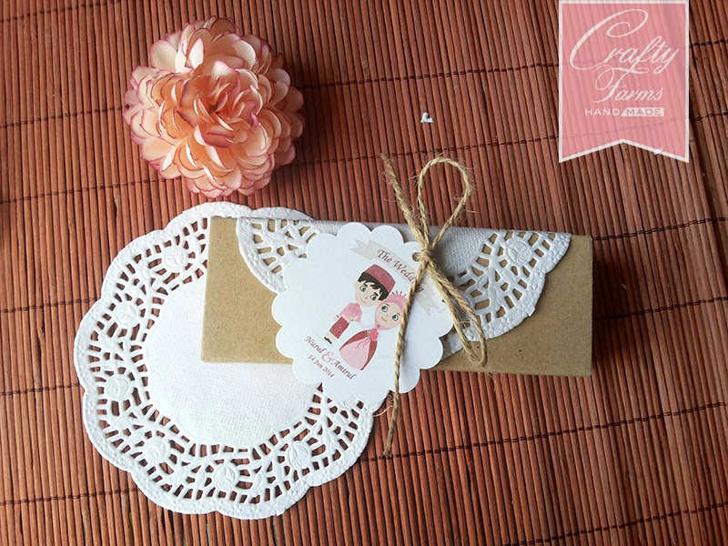Love Chocolate Bar Wedding Favour Tutorial with doily, ribbon, brown string, tag