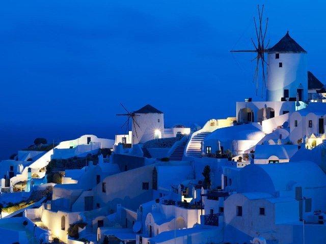 Vilarejo na Ilha Grega de Santorini.