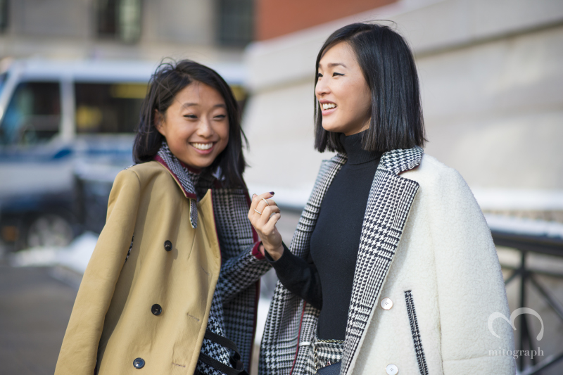 Blogger Margret Zhang and Nicole Warne wears Tommy Hilfiger at New York Fashion Week 2014 NYFW