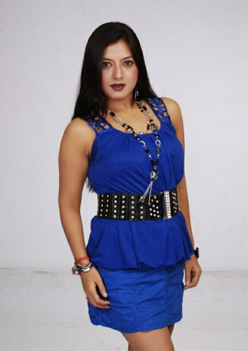 keerthi chawla spicy shoot in blue dress photo gallery