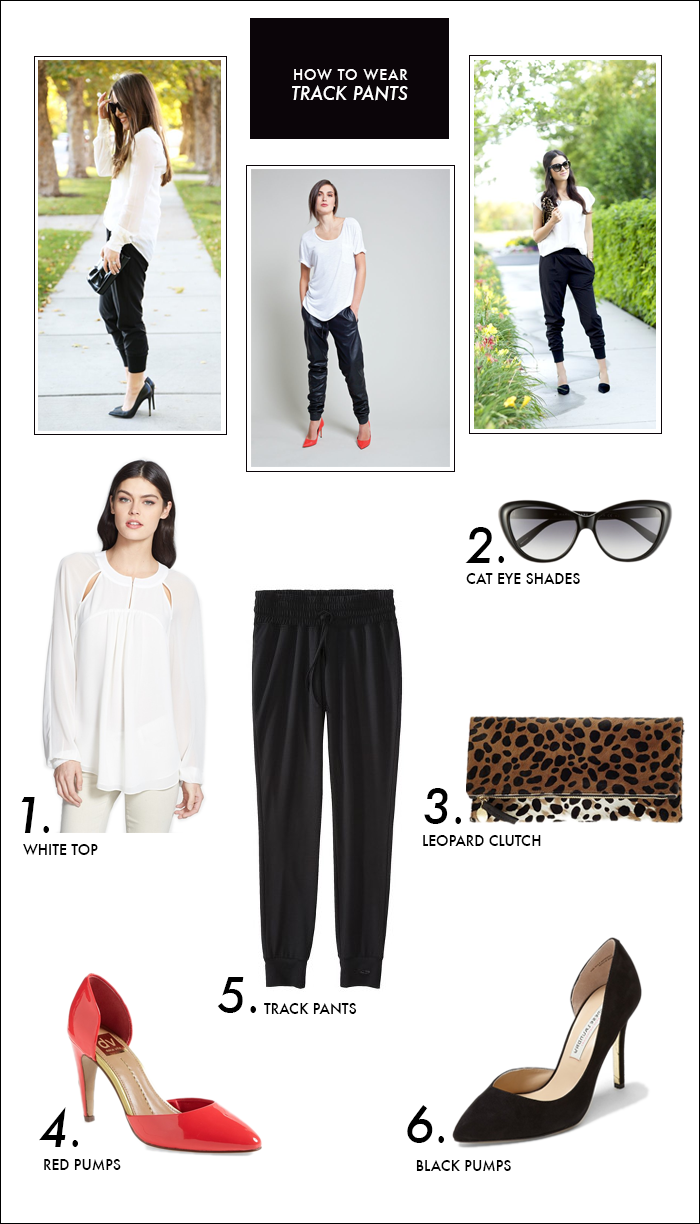 track pants, red pumps, cat eye sunglasses, nordstrom, target, chiffon blouse, spring trends
