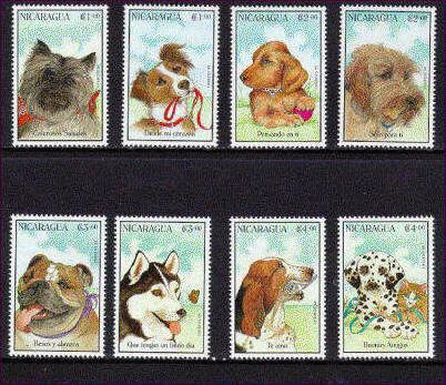 1996年ニカラグア共和国 アーフェンピンシャー ミックス ダックスフンド グリフォン ブルドッグ シベリアン・ハスキー バセット・ハウンド ダルメシアンの切手