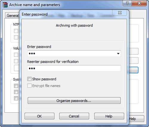 set password for zip file