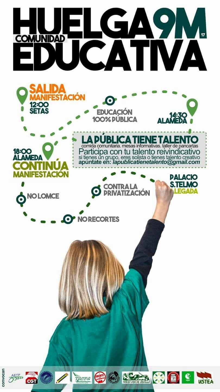 9 DE MARZO HUELGA GENERAL EN EDUCACIÓN