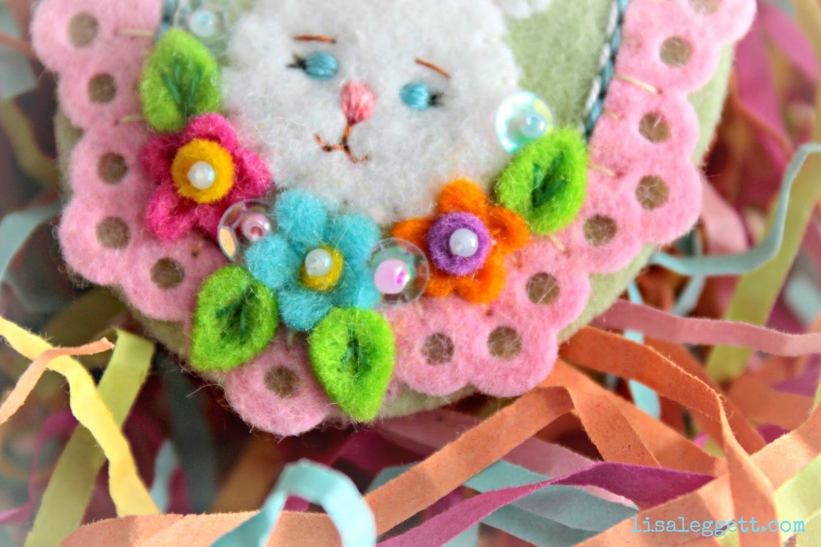 Felt Flower Close Up - Bunny Pin by Lisa Leggett