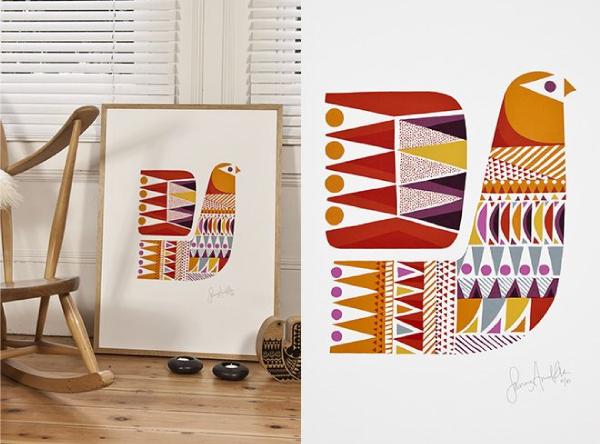 Sanna Annukka bird print Laplandlintu