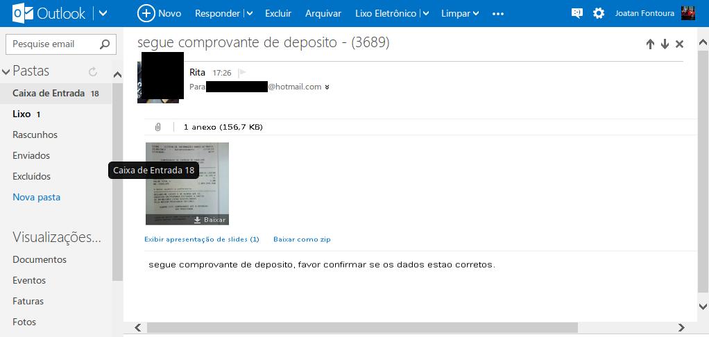 falsa mensagem email comprovante deposito