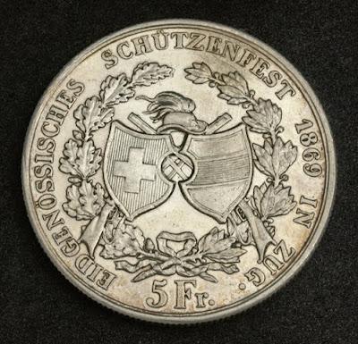 franken 5 Swiss Francs Silver coin Canton Zug Shooting Thaler