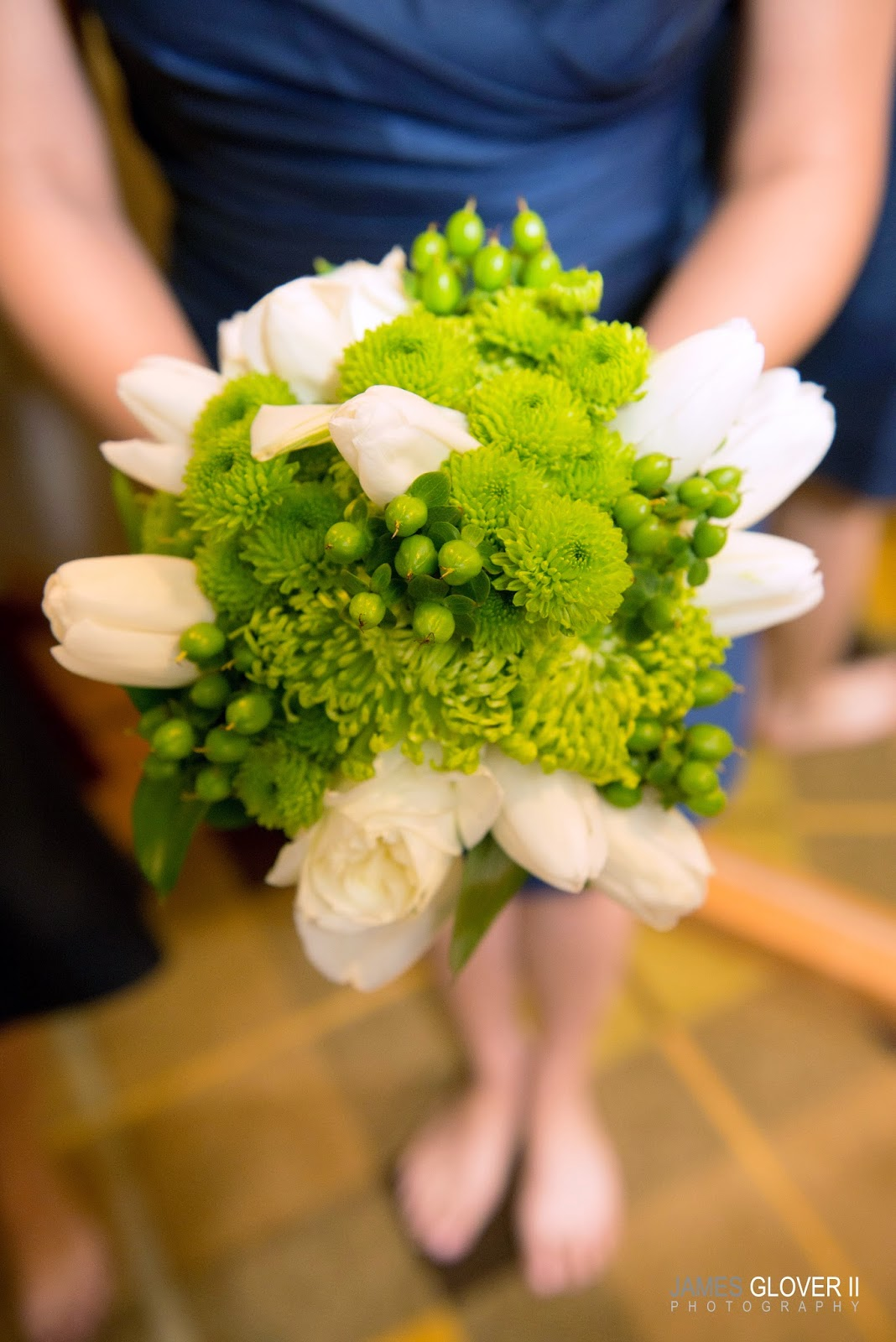 White & Green Bridesmaids Bouquet by B&B Designs | James Glover Photography | Take the Cake Events
