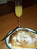 French toast w/chicken maple syrup & mimosa!