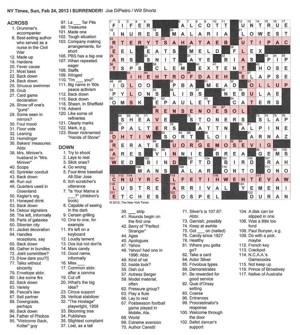 The New York Times Crossword In Gothic 022413 I Surrender