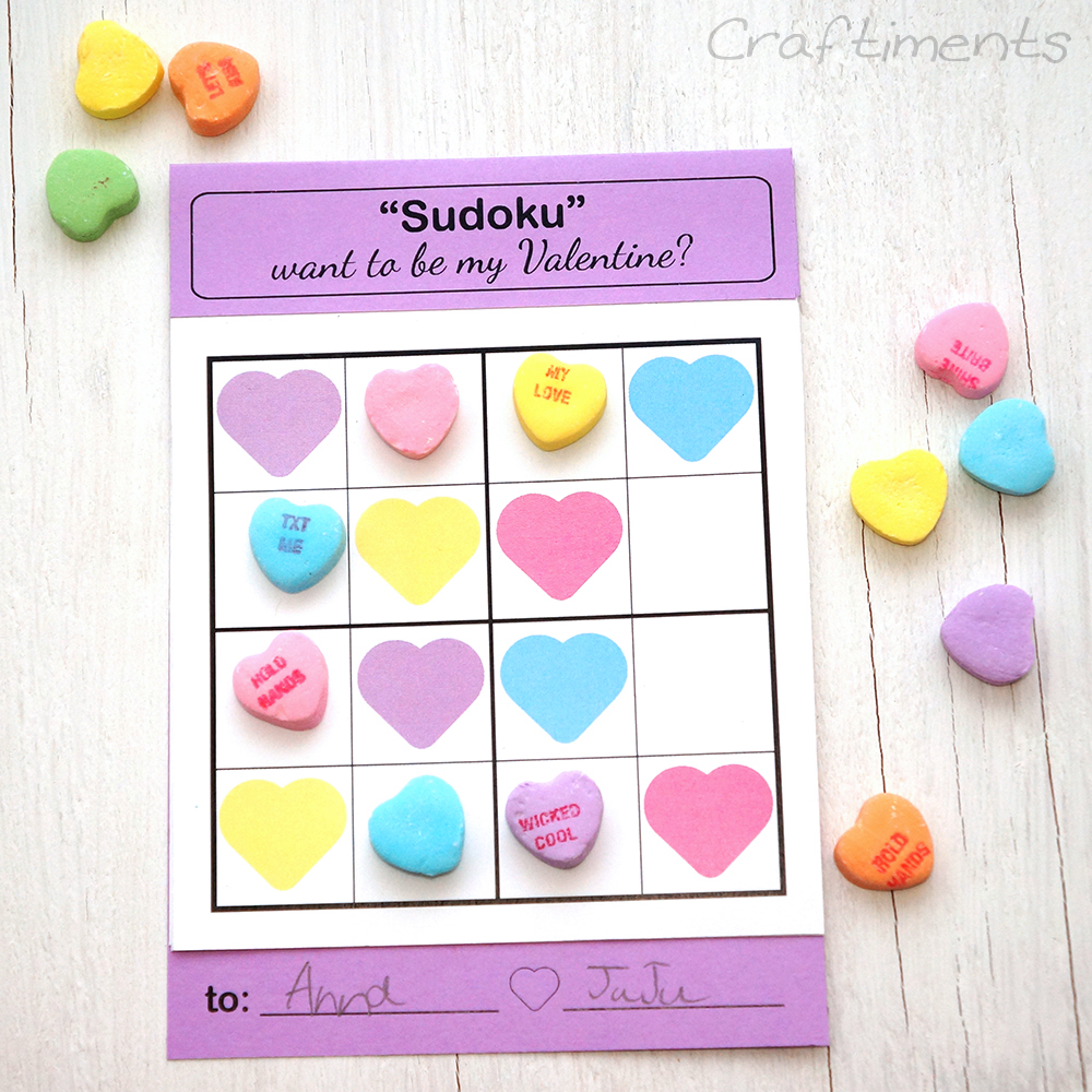 Free kids Sudoku valentine solved with conversation hearts