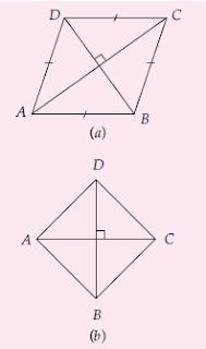 (a) Diagonal belah ketupat yang saling tegak lurus; (b) Belah ketupat ABCD dengan AC ⊥ BD