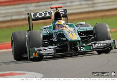 Jules Bianchi's Lotus ART, which has nothing to do with the Team Lotus F1 squad who share its livery