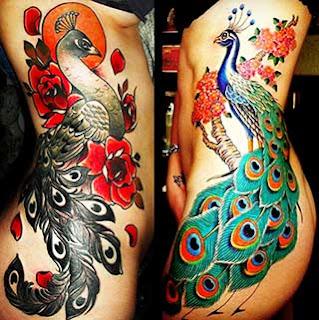 Tatuagens de pavão da coxa até a costela