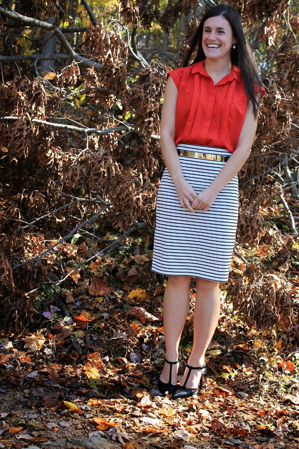Target striped pencil skirt, red top, gold ASOS belt