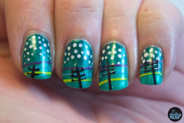 nails, nail polish, nail art, this town needs guns, hey darling polish, dots, music monday
