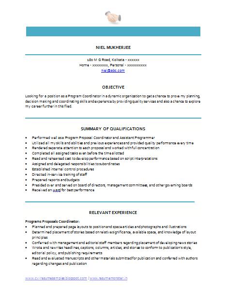 program coordinator resume 30042017
