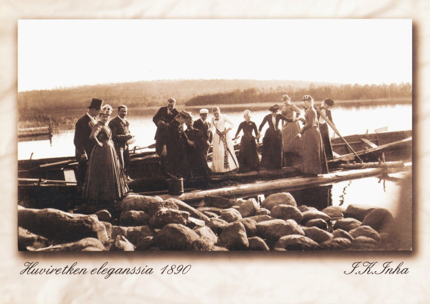 lake, into konrad inha, Finland, postcard