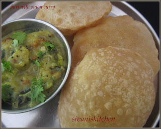 Sivaniskitchen-Puri with onion curry