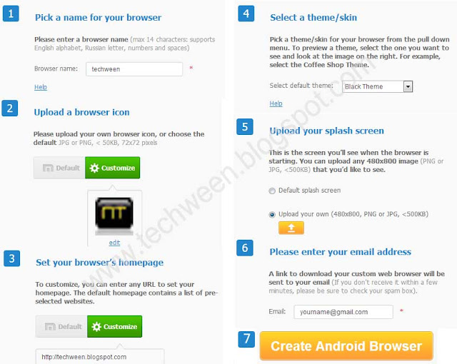 Create your own web browser free for your android phone and tablet