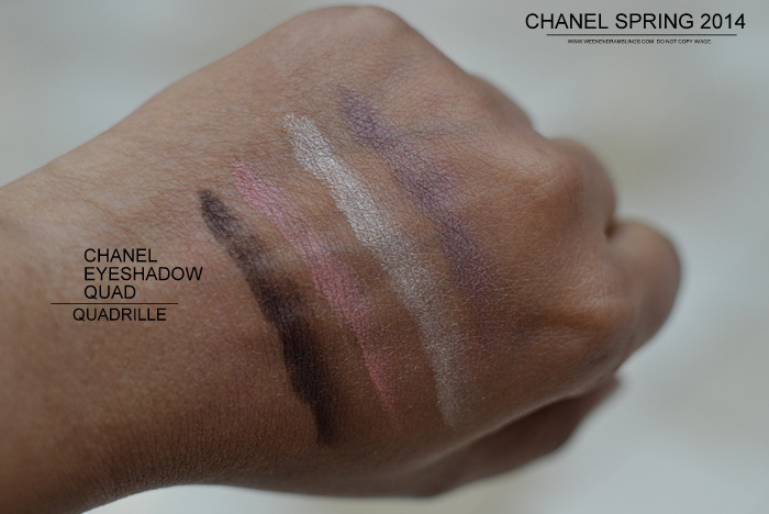 Chanel Eyeshadow Quadrille Spring 2014 Notes de Printemps Makeup Collection Swatches Photos