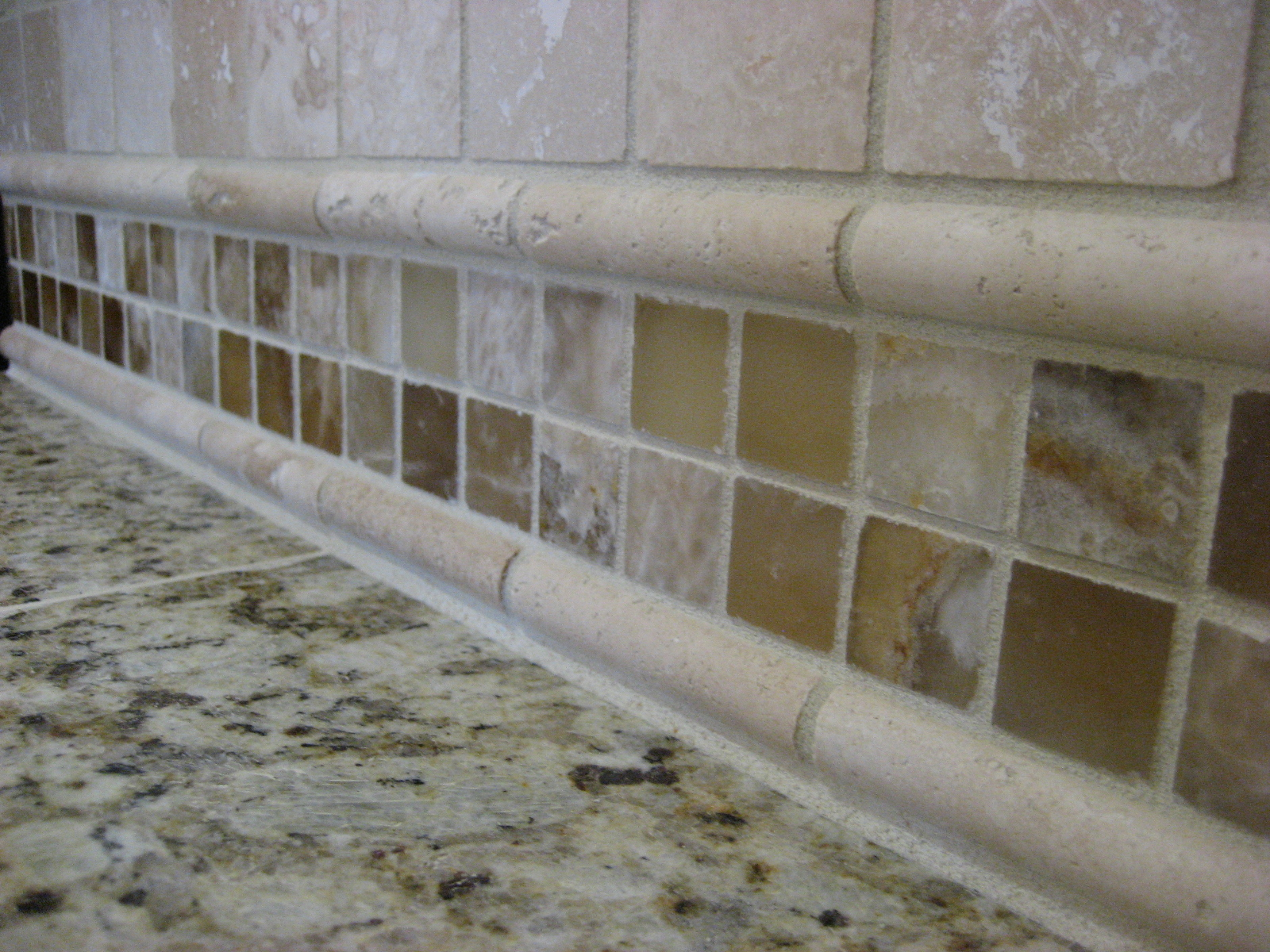 Faux Travertine Tile Backsplash
