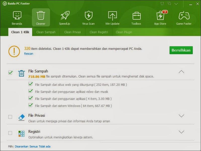 Fitur Clener Baidu PC Faster