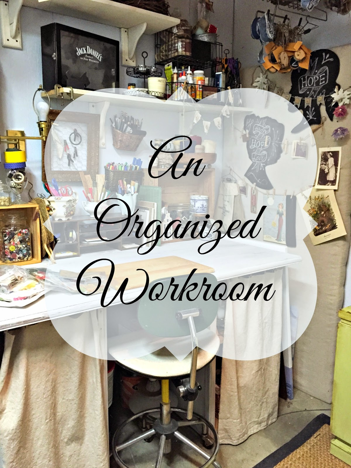 workroom studio organization, craft, the altered past blog