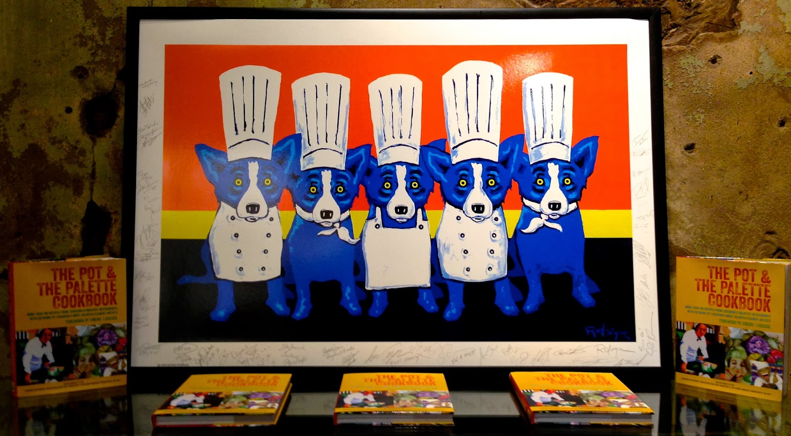raffle famous chefs sign blue dog print - Blue Dog Kitchen
