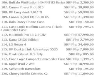page 8 Price list for laptops, cellphone, tablets, and all other electronic devices