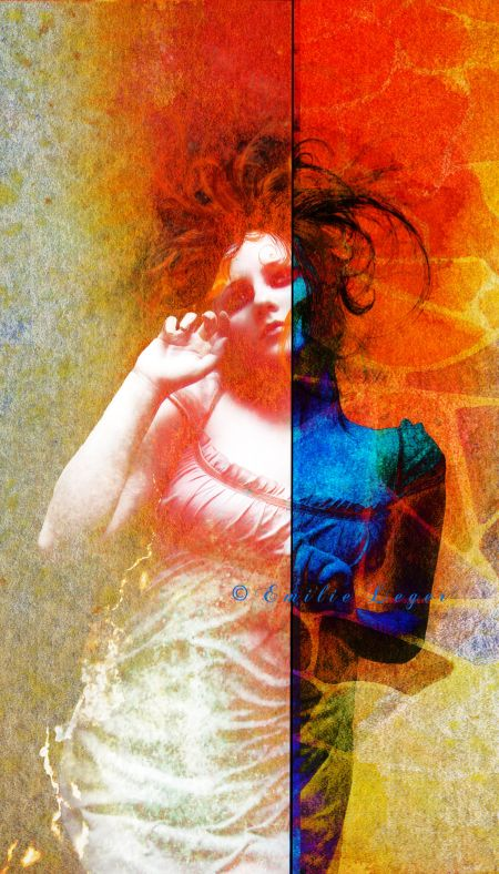 emilie leger foto manipulação digital surreal mulheres modelos sombria Natureza dupla