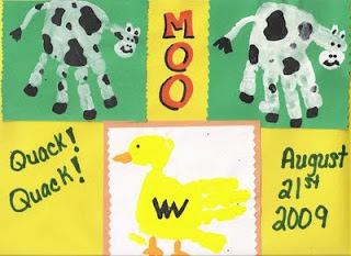 Handprint Cow &amp; Duck farm animal crafts for kids