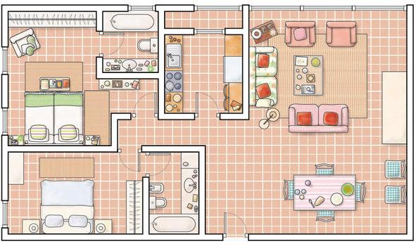 Top interior de casas pequenas images for pinterest tattoos for Planos de casas de campo