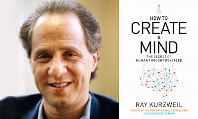 Picture of Ray Kurzweil's face next to his most recent book cover, How to Create a Mind