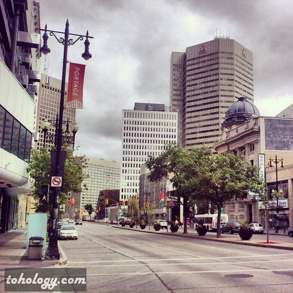 Portage Ave. downtown Winnipeg Canada