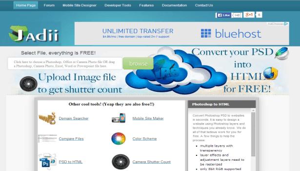Jadii free psd to html converter