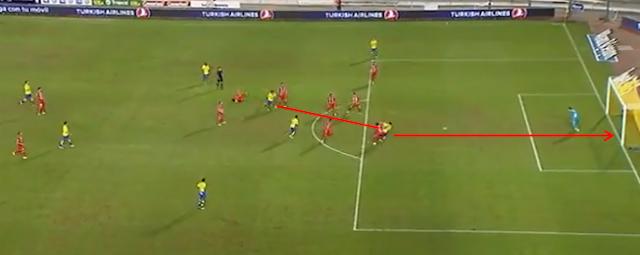 1-0 gol con zurdazo de Roque a pase de Araujo