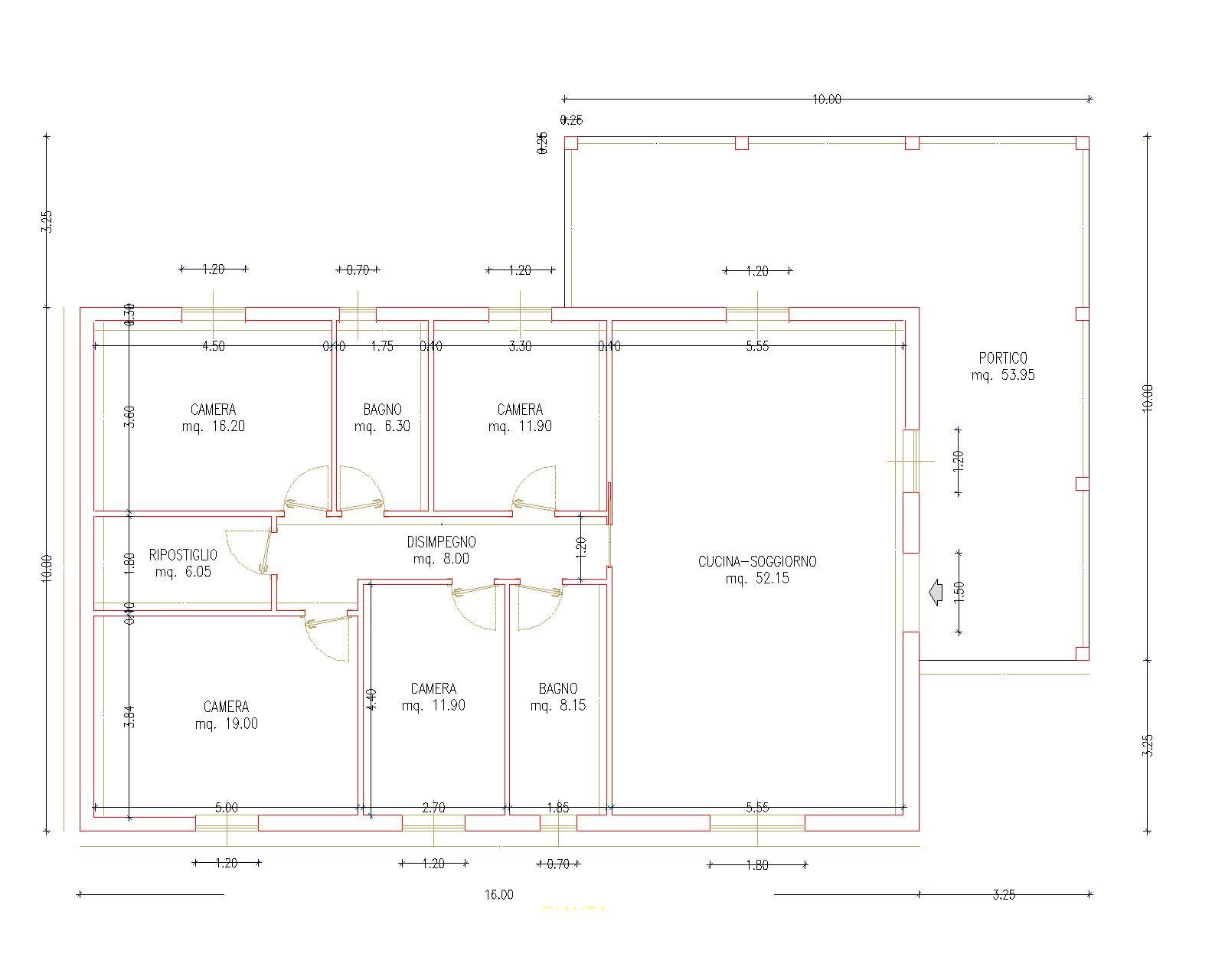 Progetti di case in legno casa 160 mq portico 54 mq for Progetti contemporanei di case a pianta aperta