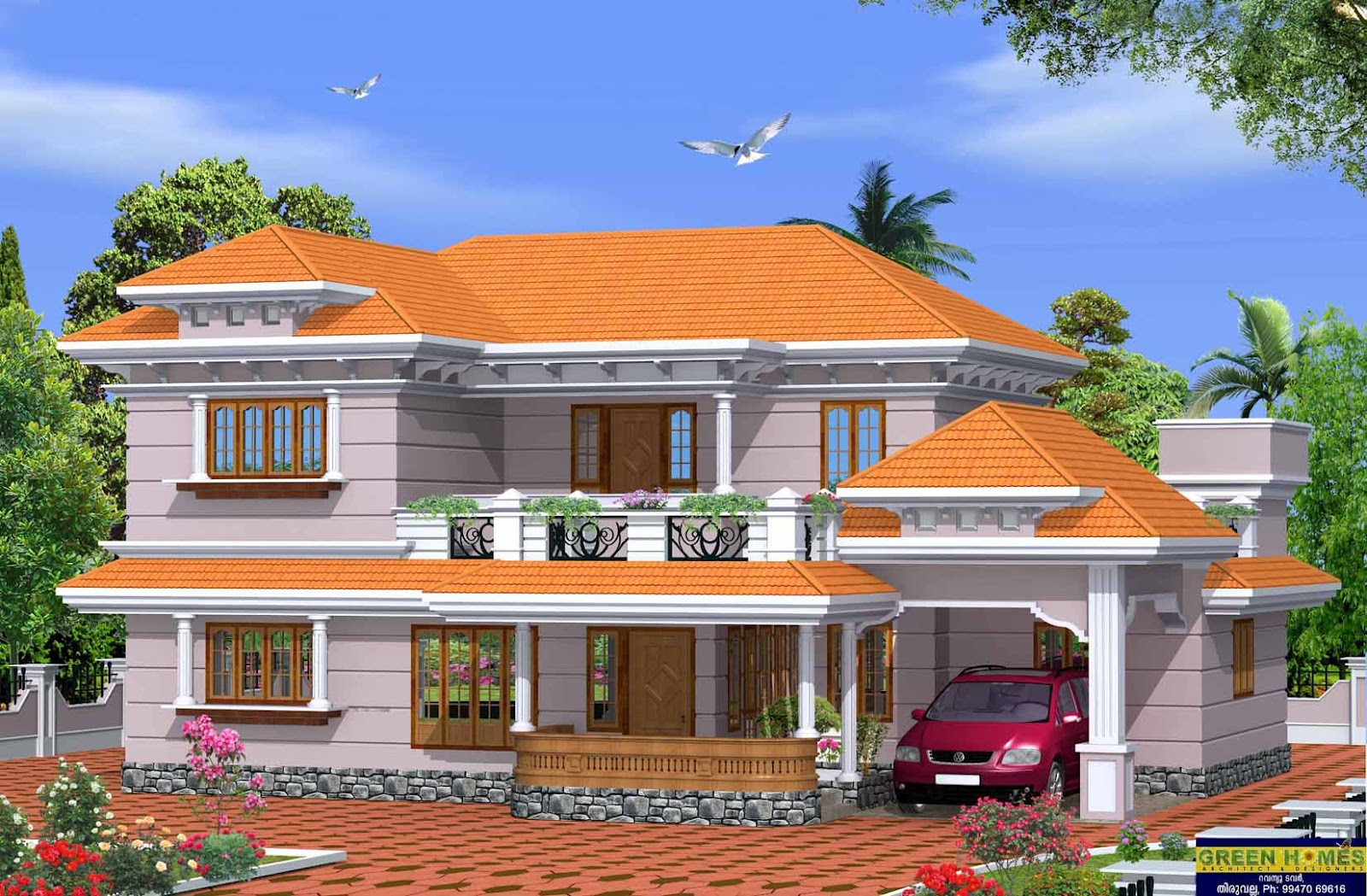 Green homes beautiful 4 bhk kerala model home 2750 for Beautiful model house